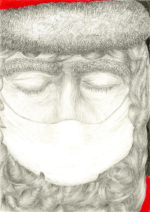 Der Weihnachtsmann trägt Maske, 2020
